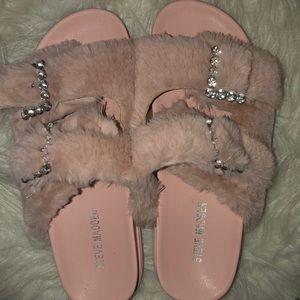 Bling faux fur sandals